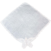 Tatted Handkerchief BUTTERFLY Ecru Linen Amazing Detail!