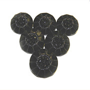 REDUCED 6 Glass Black Silver LUSTER Shank Buttons VINTAGE 23mm