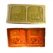 Stereo View Card *rare* Tissue Paper FRENCH Adoring the Three Wise Men RELIGIOUS 1850'S