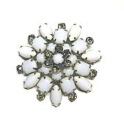 Large Milk Glass Smoky Rhinestone Milkglass Pin Brooch STARBURST Vintage