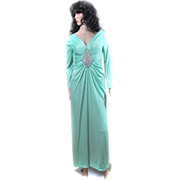REDUCED 1960s Jack Bryan POLYESTER Medallion CREST Dress BLING Small Aurora Borealis CRYSTALS