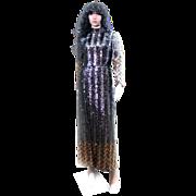 Calderon Metallic Sequins Dress BLING Long 1970s Small