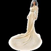 "SOLD 1930s Satin Wedding Dress Ivory Satin CUSTOM Bias Cut 102"" Train Small Beaded"
