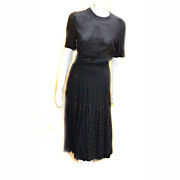 SALE 1930s Flapper Mourning RIVETS BLack Rayon DRESS Registered RARE