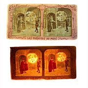 SOLD Stereo Card STEREOVIEW 'Dieu Pardonne' Early French 'tissue' rare Faust