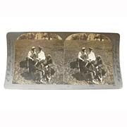 "Stereo View Card ALBUMEN Lovers Early 1900s E W Kelley ""Rivals"""