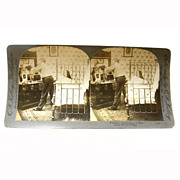 "Stereo View Card ALBUMEN Bedroom 1907 E W Kelley ""Putting a 15 Collar on a ..."