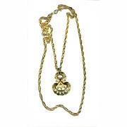 "Trifari Pendant Two Chains HUGE 2 1/2"" Goldtone Medallion Disco!"