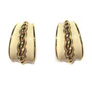 Monet Vintage Enamel Pierced Hoop Earrings Goldtone