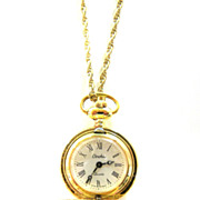 Carolee Swiss Pendant Pocket Watch VINTAGE 1970s Goldtone RUNS GREAT!