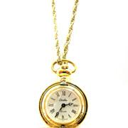 Carolee Swiss Pendant Pocket Watch VINTAGE 1970s Goldtone RUNS GREAT!