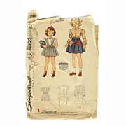 Simplicity Pattern # 4484 Sewing 1940s Little Girl JUMPER BLOUSE Size 4