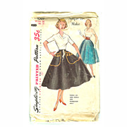 Simplicity Sewing Pattern SKIRT 1950s #4501 Size 25 IRON ON TRANSFER