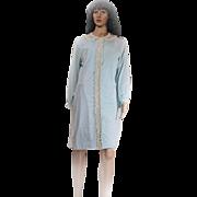 Vintage Komar Duster Housecoat Loungewear Turquoise Robe Size Medium Nylon