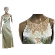 SALE PENDING 1930s 'Tailored by Patricia' Nightgown Silky Satin Rayon BIAS CUT Ornate