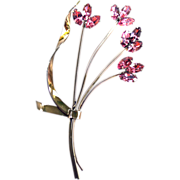 Coro Signed Sterling Silver Pin BROOCH Pink GOLD Overlay Bouquet FLOWERS MARQUIS Stones
