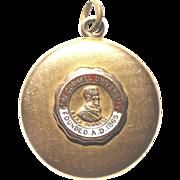 "REDUCED W&H Co. 14k Solid Gold Locket 1"" Emblem CORNELL UNIVERSITY Engraved 8 Grams"