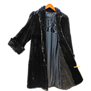 REDUCED Seal Full Length Fur Coat Black Merit Furs Ladies Small HOLLYWOOD Glam