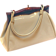 Purse Handbag Ladies PATENT Pocketbook Ivory Acrylic Handle