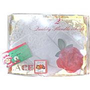 2 New In Box Lace HANKIES Handkerchiefs With Silk Rose Fruit of the Loom