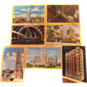 REDUCED Seven Alfred Mainzer Photochrome UNUSED Postcards NYC SCENES 1950s