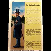SOLD Black Americana 'The Darkey Preacher' Postcard UNUSED Asheville Post Card Co.