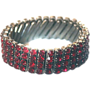 Expansion Stretch Bracelet Ruby RED Stones 1950s
