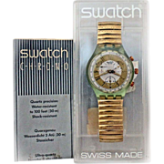 REDUCED 1993  Swatch Watch 'GOLDEN GLOBE' New In Box Warranty Chronograph