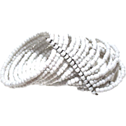 """15 Row Milk Glass CUFF Beaded Coil Memory Wire WRAP Bracelet 2 1/2"""""""