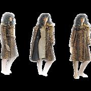 REDUCED 1960s MOD Elegante Mink Fur Coat Fox Collar BELT A Line DOUBLE BREASTED Belt Small/Med