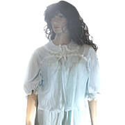 Ladies Silky Chiffon Sheer Powder Blue Bed Jacket PETER PAN Collar White DAISIES Pleated LARGE