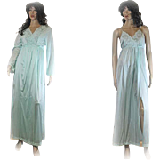 1960s Gilead Peignoir Two Piece Gown NIGHTGOWN Robe Turquoise NYLON Size Medium