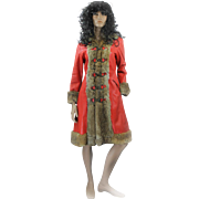 REDUCED 1970s Red Leather Rabbit Fur Trim Cossack Style Ladies Winter Coat A Line ' Size M