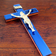 SOLD Large Vintage Blue Mirrored Crucifix, Circa 1950
