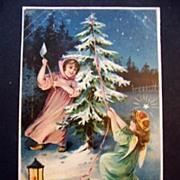 SALE Vintage Embossed Christmas Postcard Angel Girl Cutting Christmas Tree