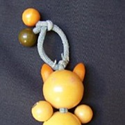 SALE Bakelite Butterscotch Crib Toy  Beaded Cat 409 Tested Tykie Toy