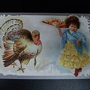 SALE Vintage Thanksgiving Postcard Girl Spanish Outfit Turkey 1909