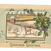 SALE Vintage Christmas Postcard Embossed Deer Windmill MAB