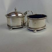 SOLD Sterling Mustard Pot & Open Salt Cobalt Liners 1925 Birmingham