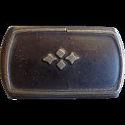 SALE Victorian Lacquer Paper Mache Snuff Box Pewter Design