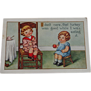 SALE Thanksgiving Postcard  Children Apple