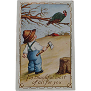 SALE Thanksgiving Postcard  Small Boy Axe Turkey