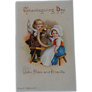 SALE Clapsaddle Thanksgiving Postcard Pilgrim Children John Alden Priscilla