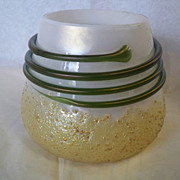 REDUCED Kralik Vase Gold Frit Green Thread on MOP Glass