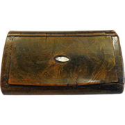 Antique Wood Snuff Box Faux Tortoise Shell Mother of Pearl Inlay