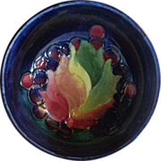 Signed Moorcroft Footed Bowl Leaf and Berry Pattern Blue Ground