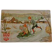 SALE Norwegian Christmas Postcard God Jul Merry Christmas