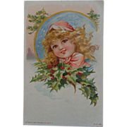 SALE 1908 Christmas Postcard Little Girl Holly Gray Lith Co