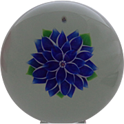 SOLD For Bob Baccarat France Paperweight Dahlia Blue 1980 Box Certificate #54/75