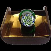 Caithness Glass Green Thimble Millefiori Thimble Star